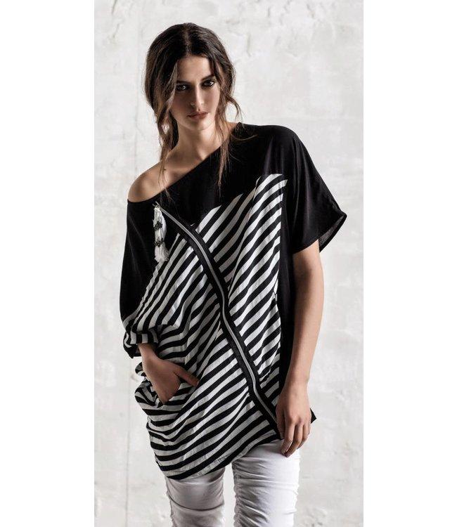 Elly Italia t-shirt à rayures noires et blanches