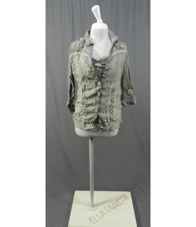 Elisa Cavaletti Twin-Set Blusenjacke und Top grau verwaschen