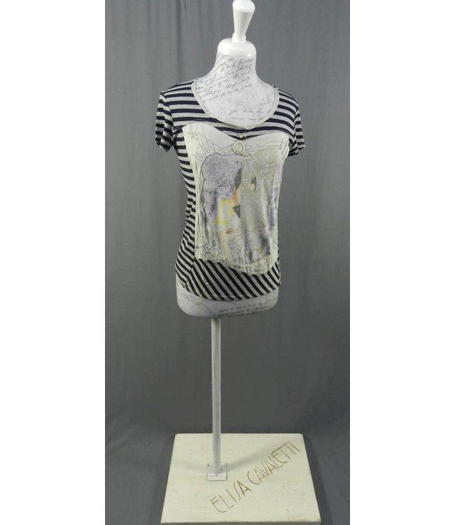 Eleonora Cavaletti T-Shirt dunkelblau-grau gestreift