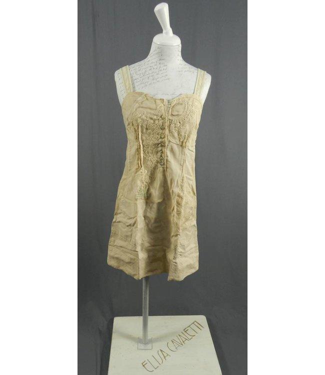 Elisa Cavaletti robe à bretelles beige