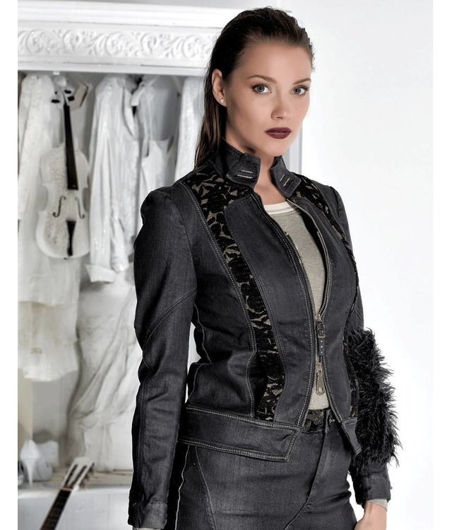 Elisa Cavaletti Veste courte en jeans noir délavé