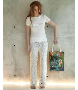 Elisa Cavaletti Pantalon extravagant écru