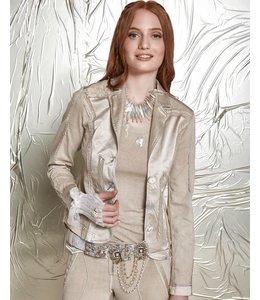 Elisa Cavaletti Short denim jacket taupe