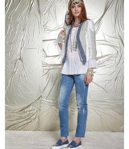 Elisa Cavaletti Veste courte en jean écru-bleu