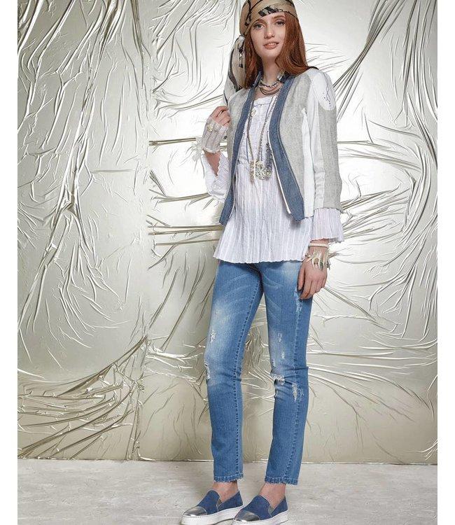 Elisa Cavaletti Short denim jacket ecru-blue
