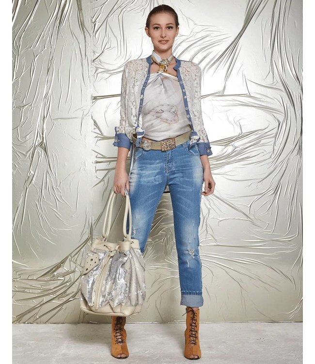 Elisa Cavaletti Long blouse of semi-transparent ecru lace