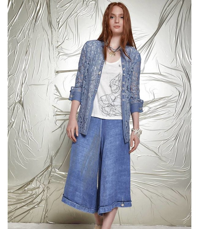 Elisa Cavaletti Long blouse of semi-transparent denim-blue lace