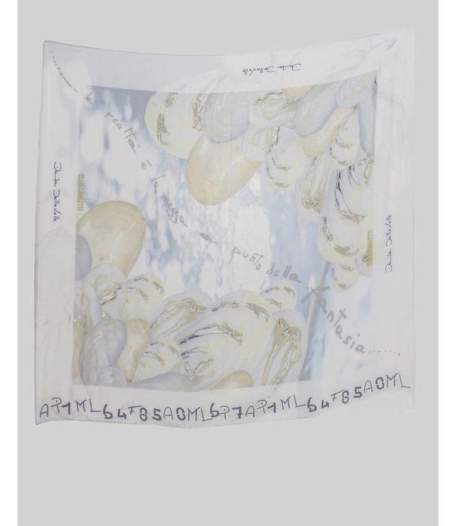 Elisa Cavaletti Silk scarf blue-beige