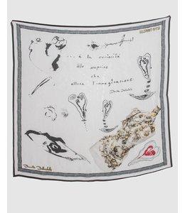Elisa Cavaletti Foulard en soie blanc-noir
