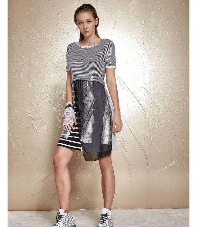 Elisa Cavaletti Kleid schwarz-weiss gestreift