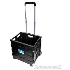 Silverline Inklapbare trolley met krat 25kg