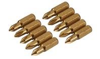 Silverline Gouden schroevendraaier bits, 10 pk. KRUISKOP