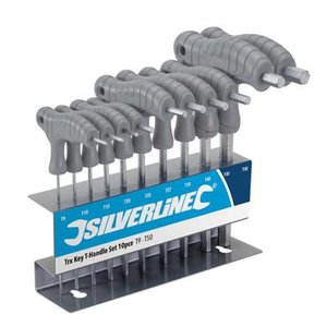 Silverline 10-delige Trx sleutel set met T-handvat