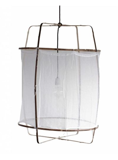 Ay Illuminate Z1 pendant lamp in bamboo and white cotton - Ø 67cm x H100cm - Ay illuminate