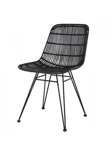 HK Living Rattan dining chair black - HK Living