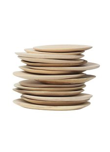 HK Living Set de 2 assiettes en bois naturel - ∅20/24 cm - HK Living
