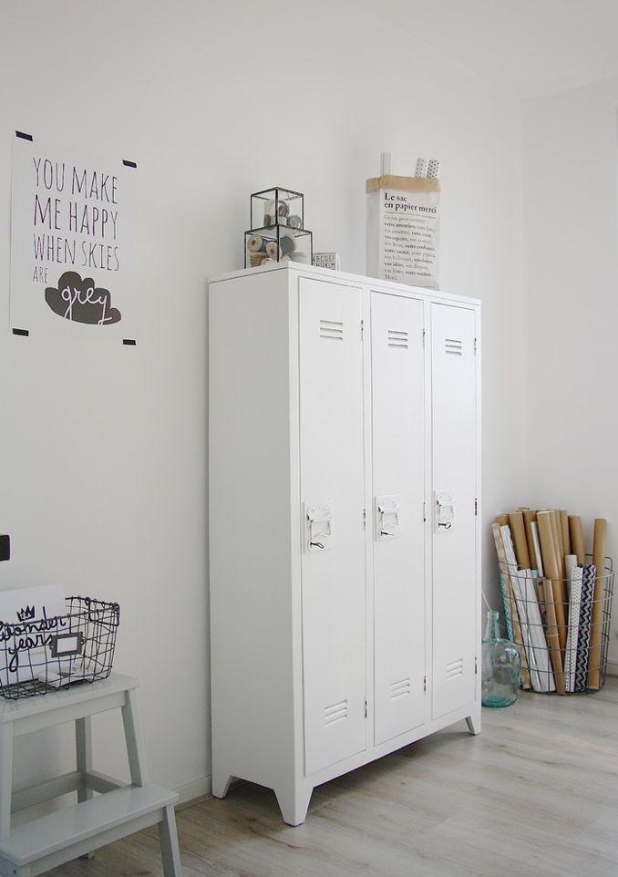 HK Living Armoire Casier bois - blanc - HK Living