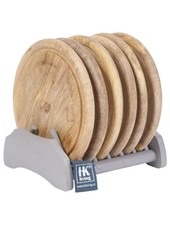 HK Living Egouttoir gris avec 6 Assiettes en bois naturel - HK Living