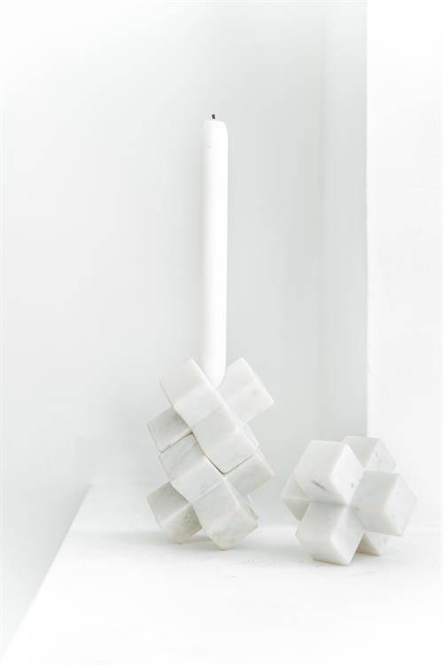 HK Living Portavelas 3D mármol - Blanco - HK Living