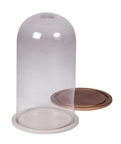 Broste Copenhagen Cloche de verre - cuivre - h35cm - Broste Copenhagen