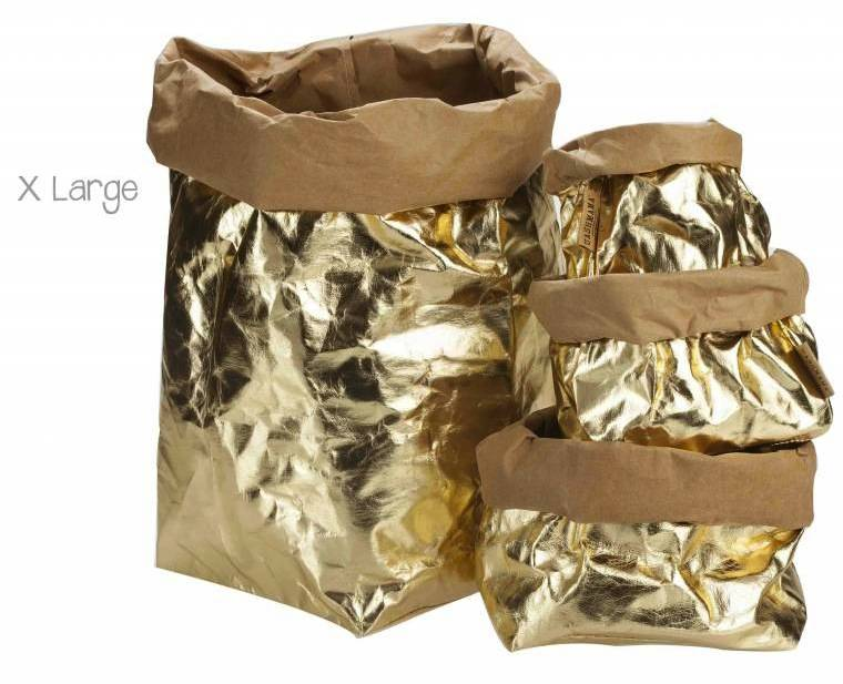 Uashmama Washable Paper Bag - Laminated Gold / Brown - Uashmama