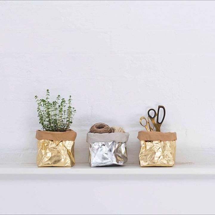Sac en papier lavable argent uashmama petite lily interiors - Deco huis exterieur ...