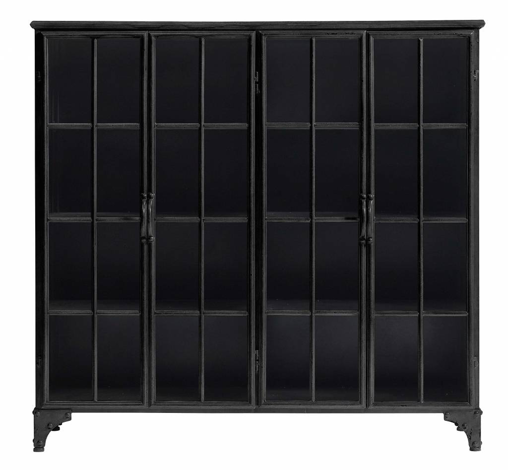 nordal biblioth que industrielle downtown en m tal 4 portes noir nordal petite lily interiors. Black Bedroom Furniture Sets. Home Design Ideas