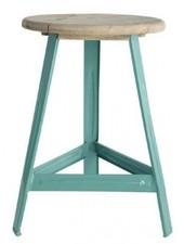 House Doctor Taburete industrial madera y metal turquesa - 32x altura 48 cm- House Doctor