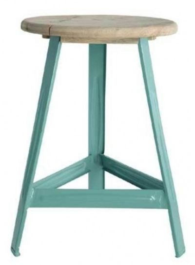 House Doctor Industrial stool 'have a seat' - turquoise metal and wood - House Doctor