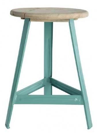 House Doctor Tabouret Industriel ' have a seat' - métal turquoise et bois - House Doctor