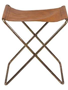 Broste Copenhagen Folding Chair 'Nola' Leather / Iron Antique - H45cm - Broste Copenhagen