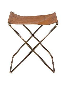 Broste Copenhagen Chaise pliante 'Nola' Cuir/Fer Antique - h45cm - Broste Copenhagen