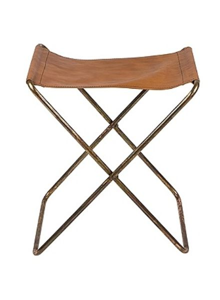 Broste Copenhagen Folding Chair 'Nola' Leather / Iron Antique - H45cm - Broste Copenhagen