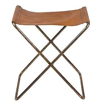 Broste Copenhagen Folding Chair 'Nola' Leather / Iron Antique - Broste Copenhagen