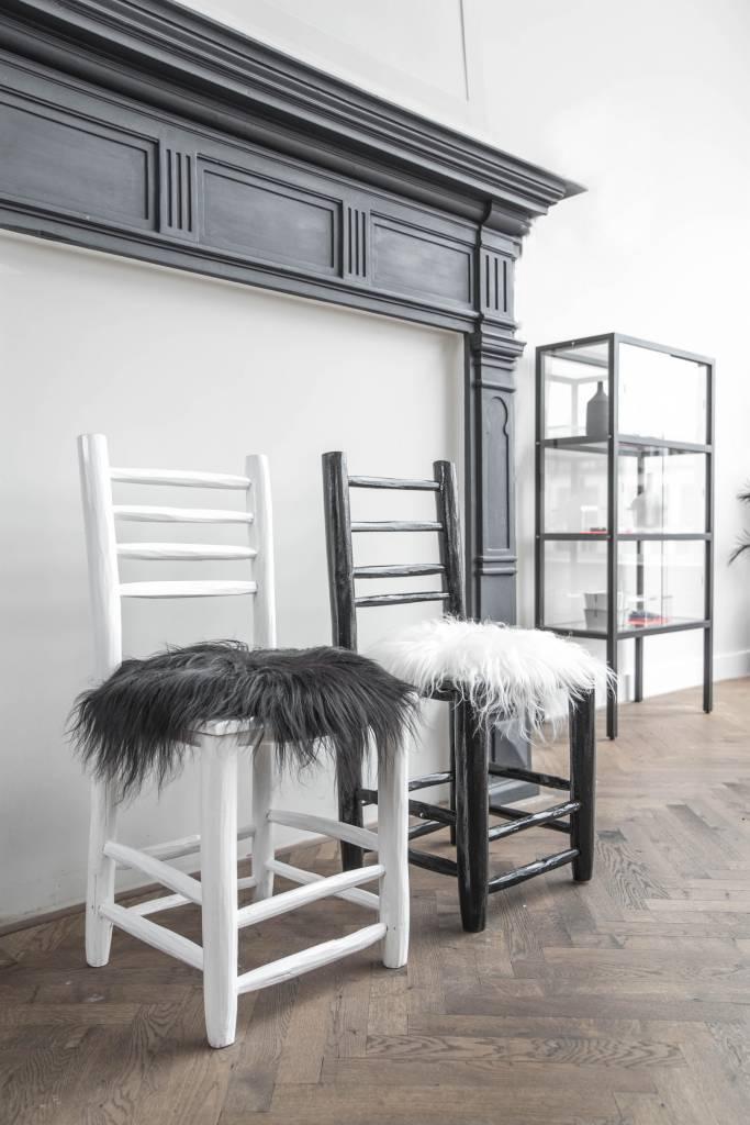 HK Living Coussin de siège en Peau de Mouton d'Islande - Noir - 35cm - HK Living