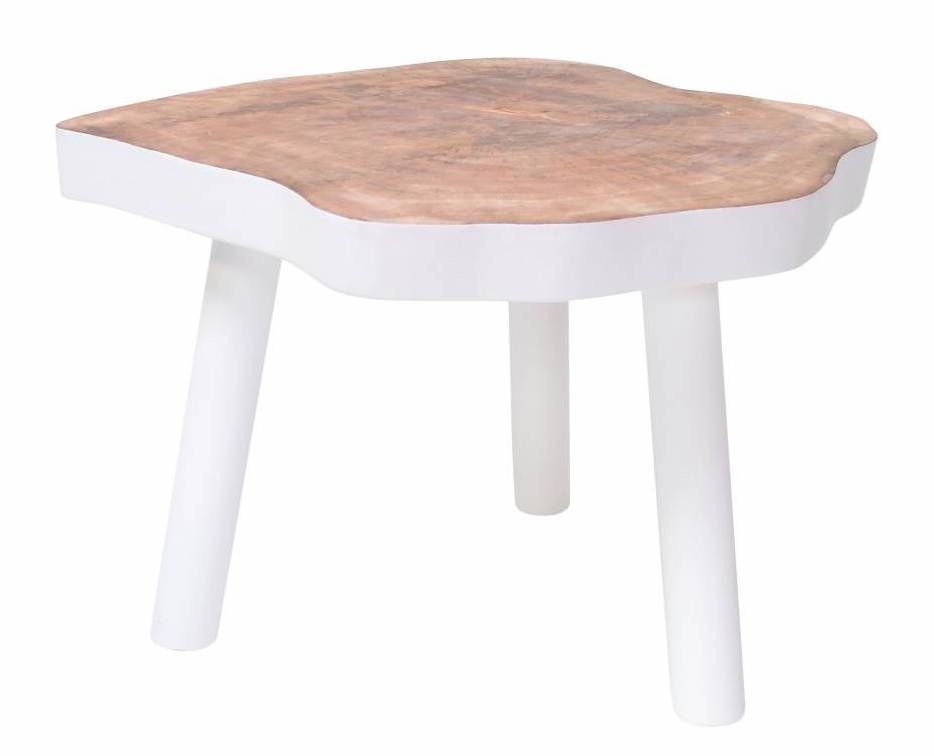 table basse arbre 65cm bois blanc hk living petite. Black Bedroom Furniture Sets. Home Design Ideas