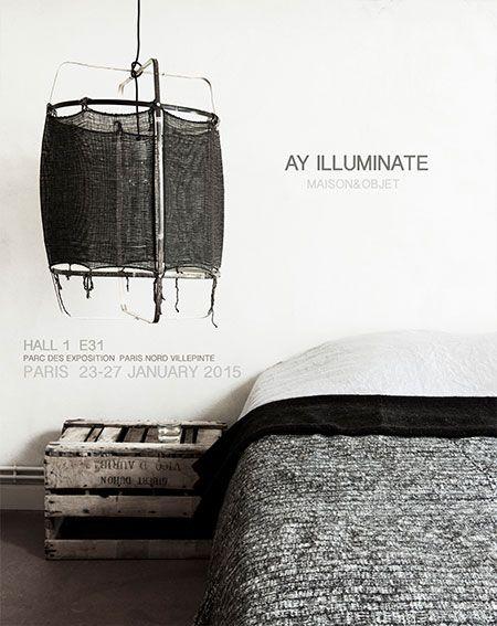 Ay Illuminate Lámpara de suspensión de bambú / de seda / cachemira - 48.5cm Ø - negro Z11 - Ay iluminate