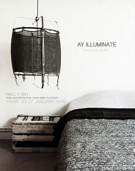 Ay Illuminate Lampe Suspension Bambou et Cachemire Z11 - Noire - Ø 48.5cm - Z11 - Ay illuminate