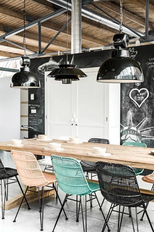 HK Living Suspension industrielle style usine métal noir - Ø50cm - HK Living