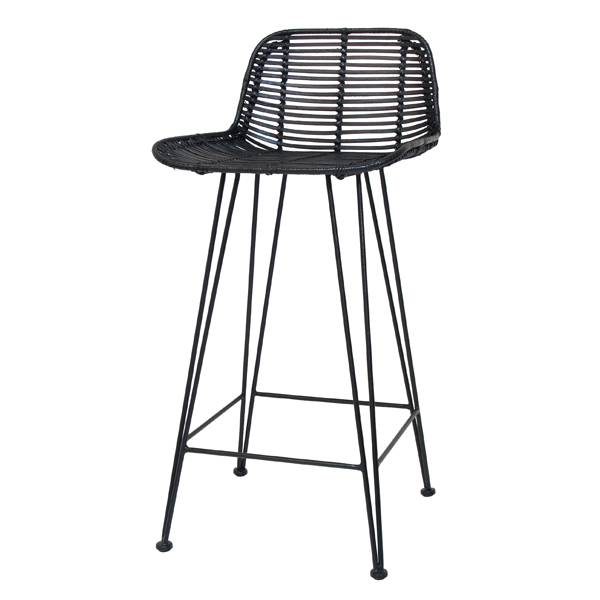 tabouret de bar en rotin noir hk living petite lily. Black Bedroom Furniture Sets. Home Design Ideas