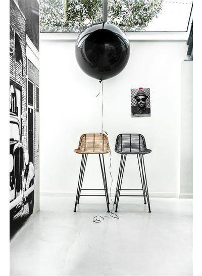 HK Living Rattan bar stool black - HK Living