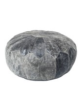 HK Living Pouf rustic leather XL noir - Ø75cm - HK Living