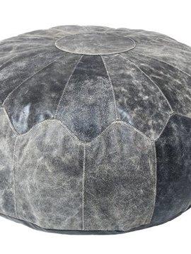 HK Living Pouf rustique en cuir noir XL - Ø75cm - HK Living