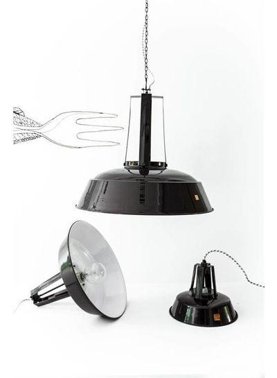 HK Living Black Mental Industrial Hanging Lamp - Metal - Ø45 - HK Living