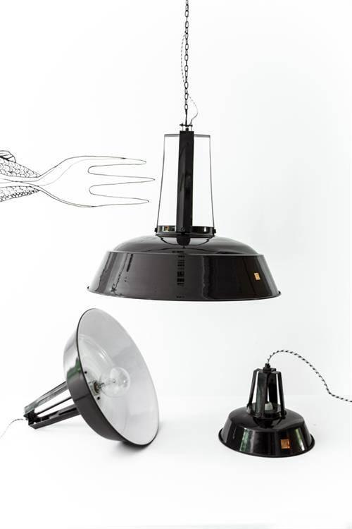 HK Living Lámpara de Suspensión Industrial - Estilo Fábrica-  Negra - Ø45 - HK Living