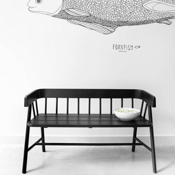 HK Living Bench / Outdoor sofa - Black Teak Sofa - HK Living