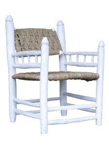 Household Hardware Set de 2 Chaises Lounge Marocaines en bois blanc - Exterieur - House Hold Hardware