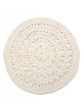 Ethnic rugs Round hook - white / cream - Ø110cm - Nacotrade