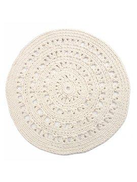 Tapis ethnique en crochet ronde - blanc / crème - Ø110cm - Nacotrade