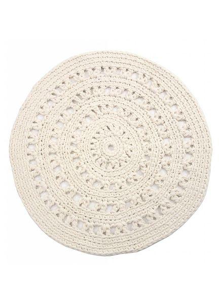 Alfombra étnica redondo de gancho - blanco / crema - Ø110cm - Nacotrade